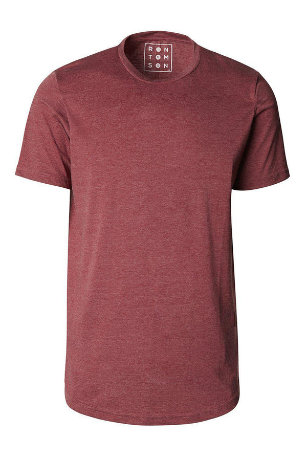Basic Short Sleeve Crew Neck T-shirt - Burgundy - Ron Tomson