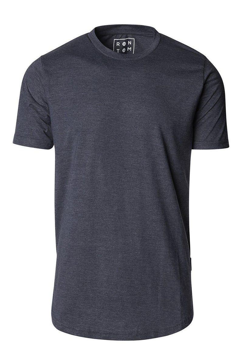 Basic Short Sleeve Crew Neck T-shirt - Navy - Ron Tomson