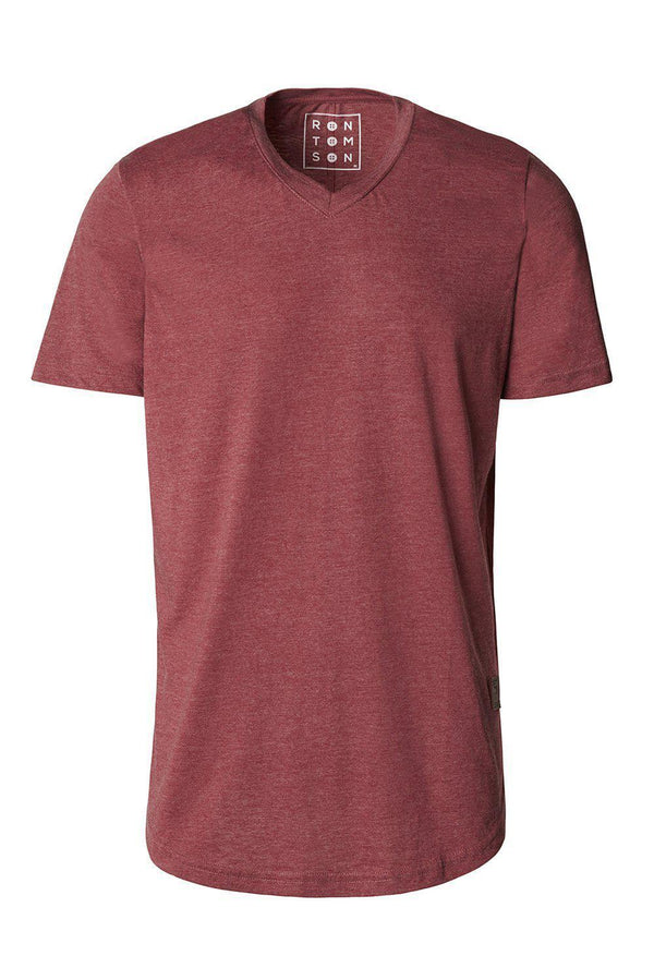 Basic Short Sleeve V Neck T-shirt - Burgundy