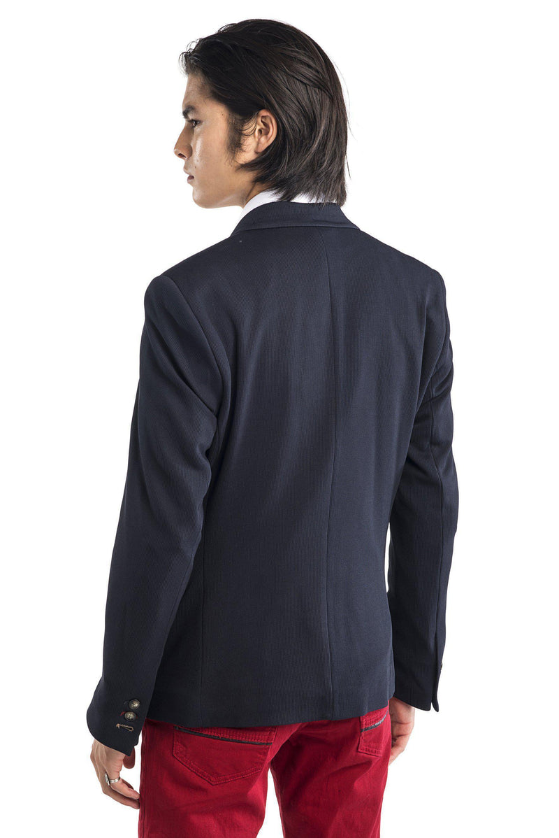 Beehive Single Button Fitted Jacket - Navy - Ron Tomson