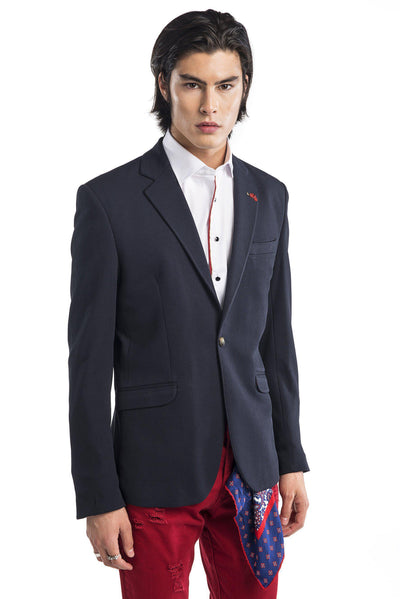 Beehive Single Button Fitted Jacket-Jackets-Ron Tomson-NAVY-M-Ron Tomson