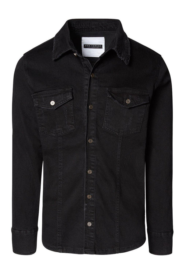 Black denim overshirt with two breast pockets and button closures.