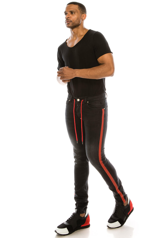 BLACK SKINNY FIT STRIPED DISTRESSED JEANS - Ron Tomson