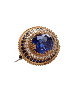 Blue and Clear Stones Pendant Brooch