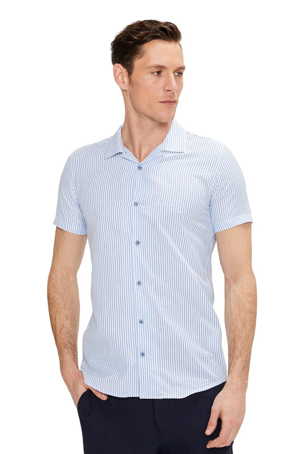 BLUE STRIPE CAMP COLLAR SHIRT - Ron Tomson