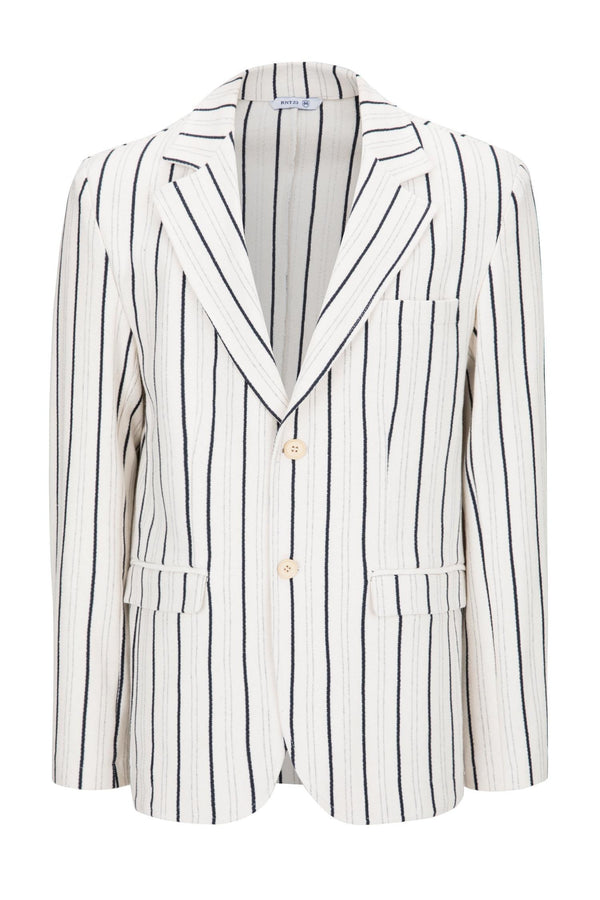 BOLD STRIPED BLAZER - STONE - Ron Tomson