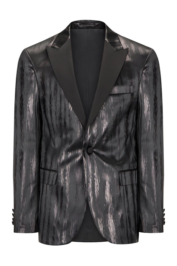 BRUSH STROKE SHINY STRIPED PEAK LAPEL TUXEDO - BLACK