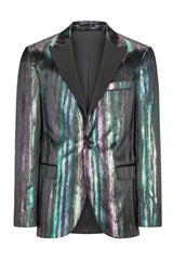 BRUSH STROKE SHINY STRIPED PEAK LAPEL TUXEDO - MULTI - Ron Tomson