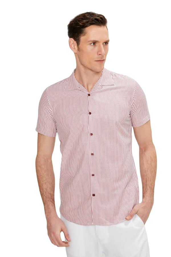 BURGUNDY STRIPE CAMP COLLAR SHIRT