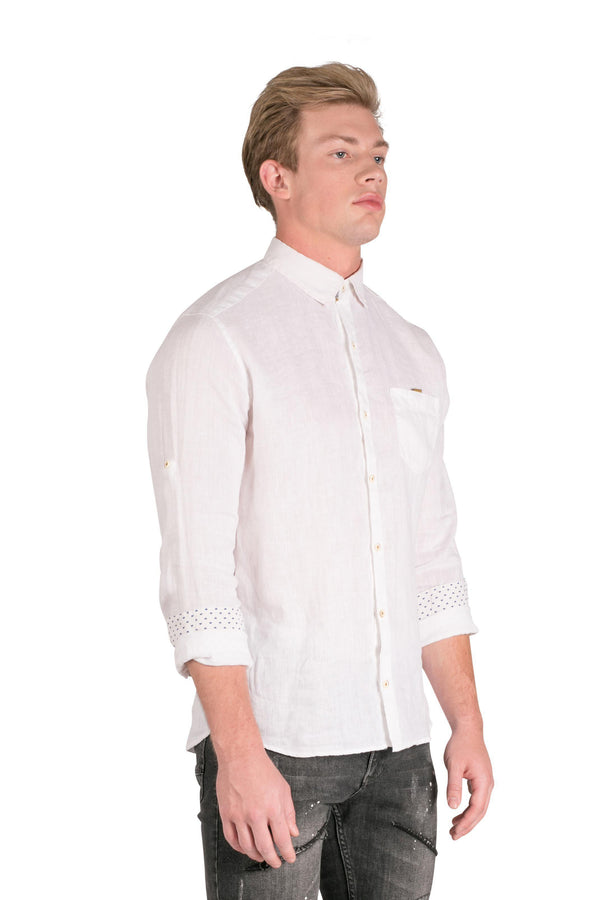 Collared Fitted Button Down Linen Shirt-Shirts-RON TOMSON-WHITE-S-Ron Tomson