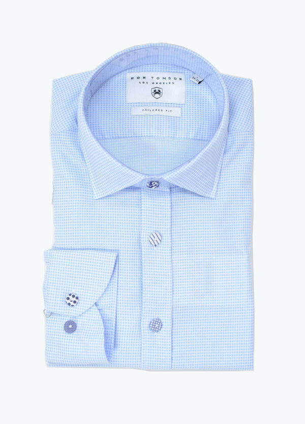Button Fitted Cotton Shirt - Blue