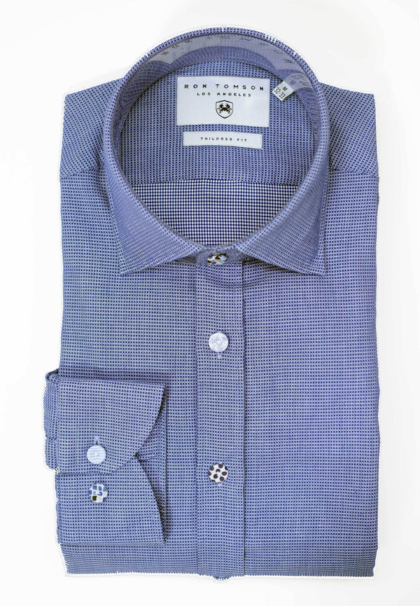 Button Fitted Cotton Shirt - Dark Blue