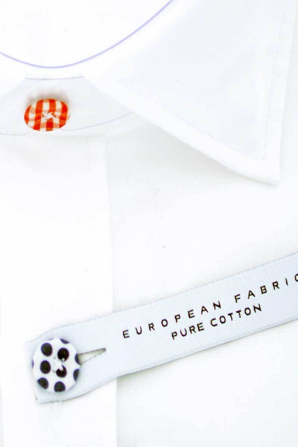 Button Fitted Cotton Shirt - White 2