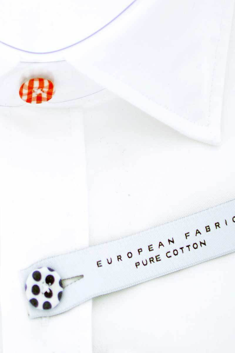 Button Fitted Cotton Shirt - White 2 - Ron Tomson