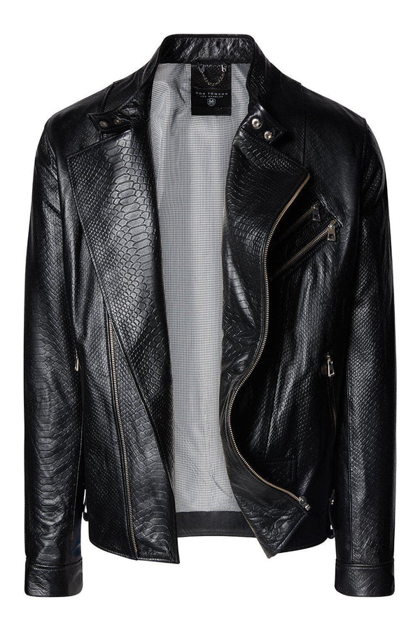 Cafe Riders Jacket - Black Leather / Exotic