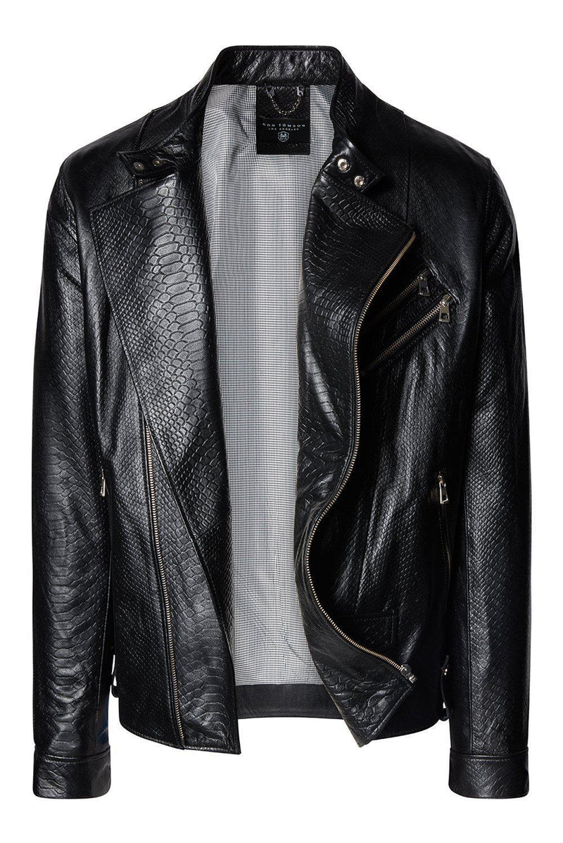 Cafe Riders Jacket - Black Leather / Exotic - Ron Tomson