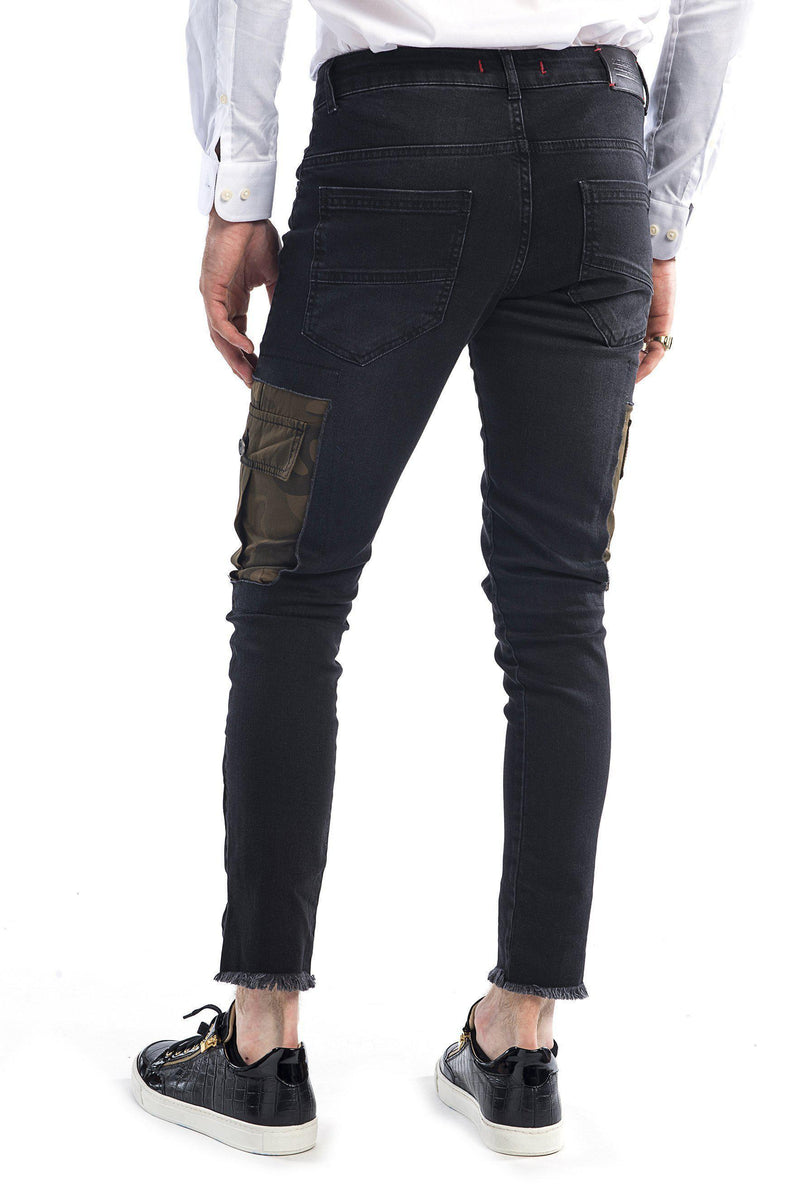 Camo Patched Flap Pocket Slim Fit Jeans - Black - Ron Tomson