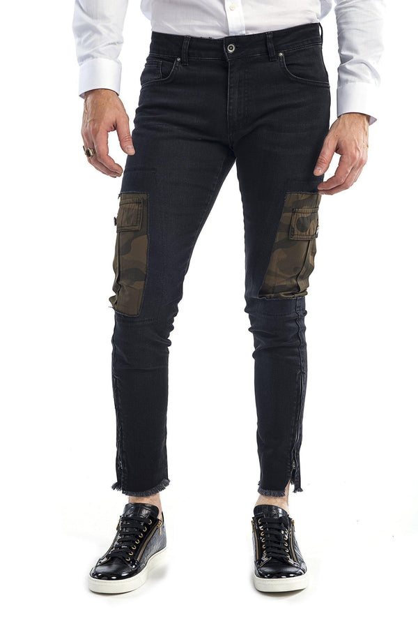 Camo Patched Flap Pocket Slim Fit Jeans - More Colors-Jeans-Ron Tomson-BLACK-29-Ron Tomson