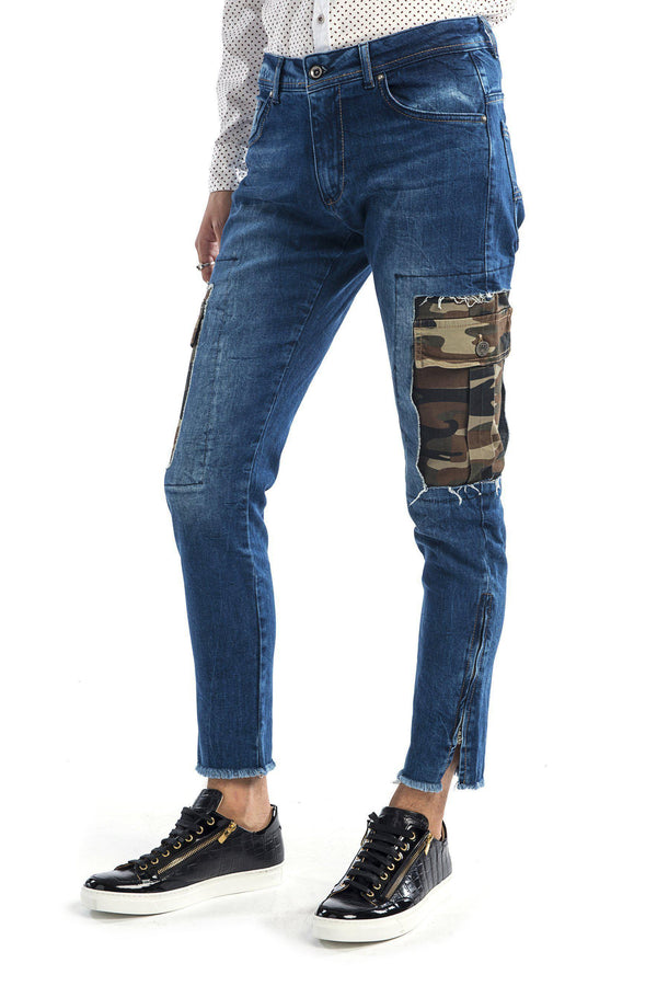 Camo Patched Flap Pocket Slim Fit Jeans - Navy - Ron Tomson