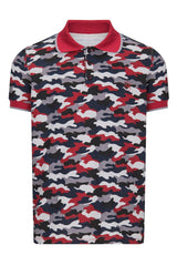Camo Patterned Polo Shirt - WINE BLACK - Ron Tomson