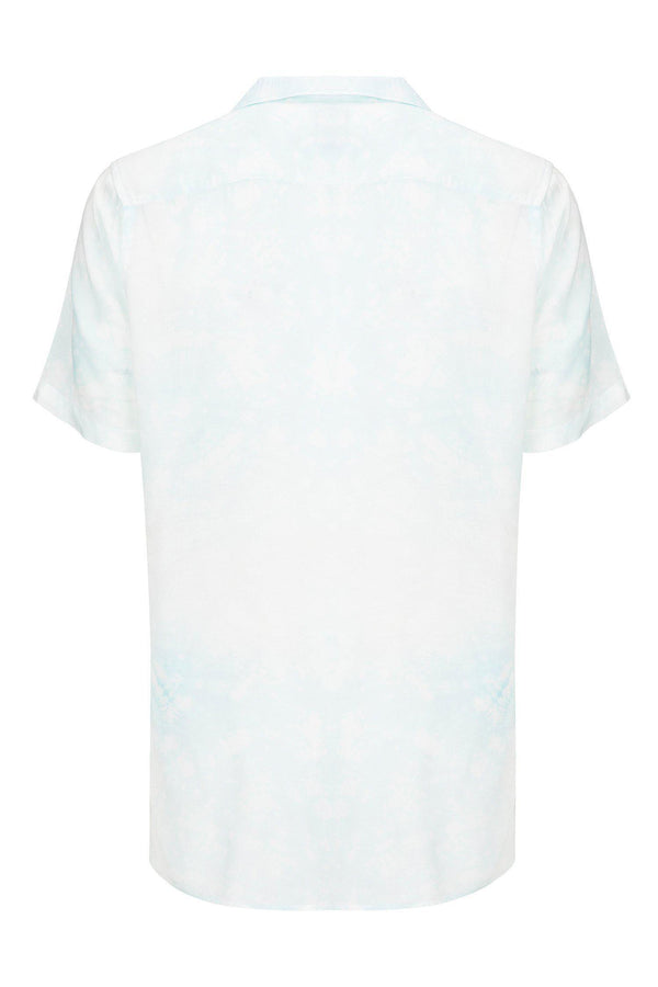CAMP COLLAR PRINTED SHIRT - White Mint - Ron Tomson