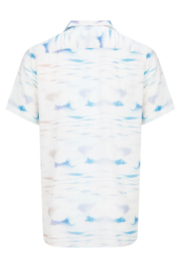 CAMP COLLAR PRINTED SHIRT - White Sax - Ron Tomson