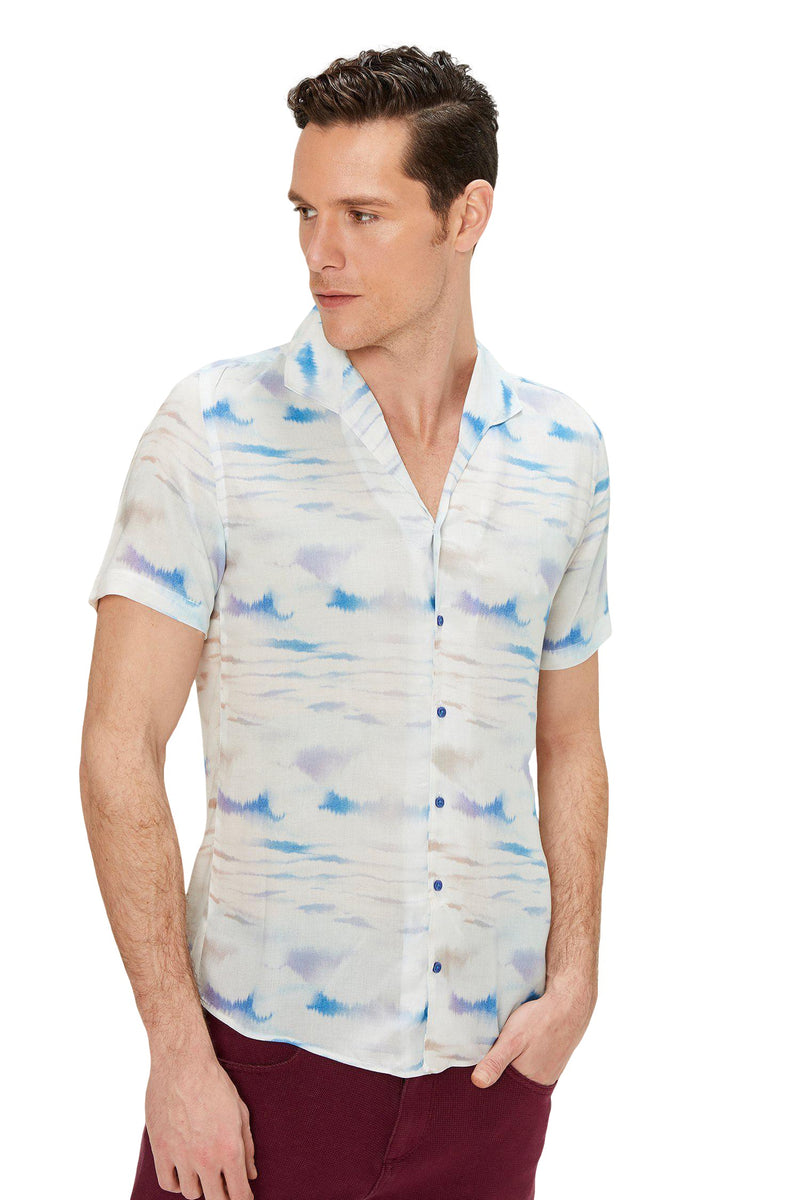 CAMP COLLAR PRINTED SHIRT - White Sax