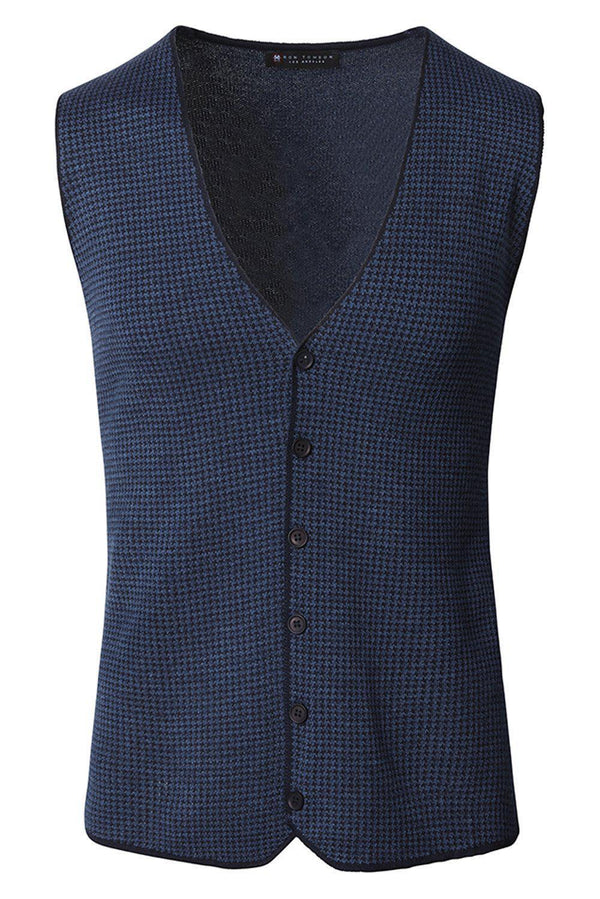 Casual Houndstooth Vest - Navy