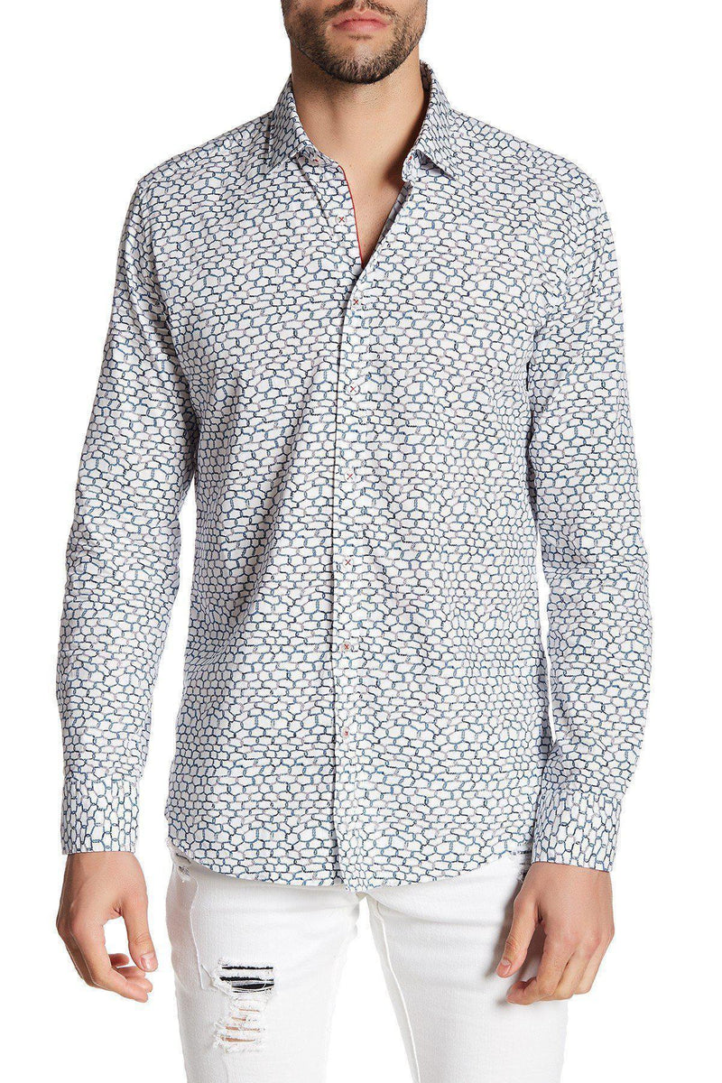 Casual Printed Shirt - White Blue - Ron Tomson