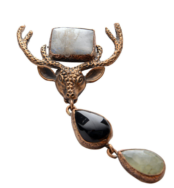 CERF AND STONES GRANDE PENDANT BROOCH