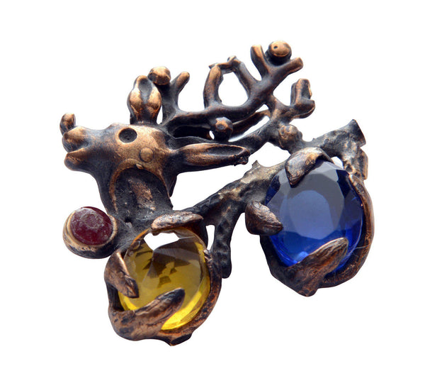 Cerf and Stones in Claws Pendant Brooch - Ron Tomson