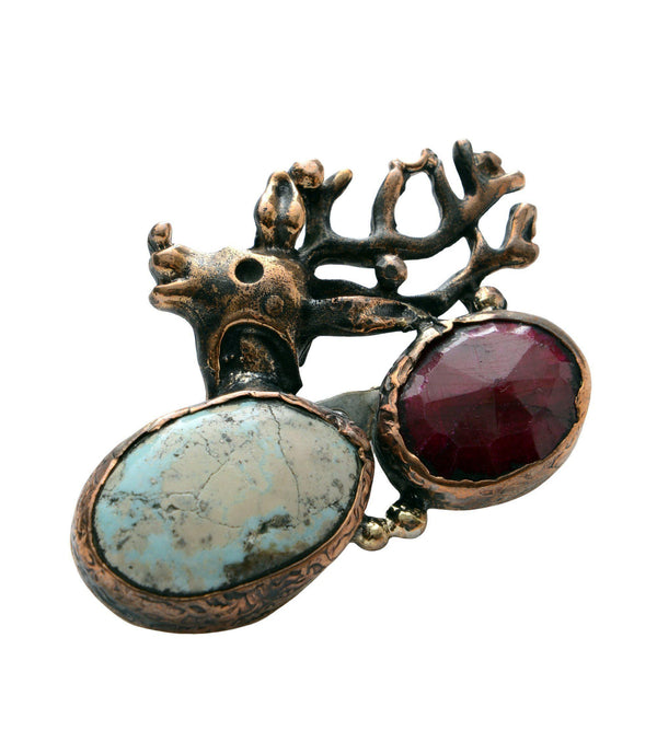 Cerf and Stones Pendant Brooch - Ron Tomson