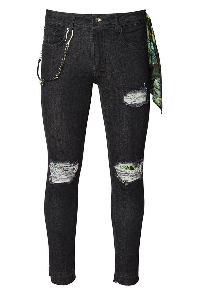 Chain Slit Distressed Jeans - Black White - Ron Tomson