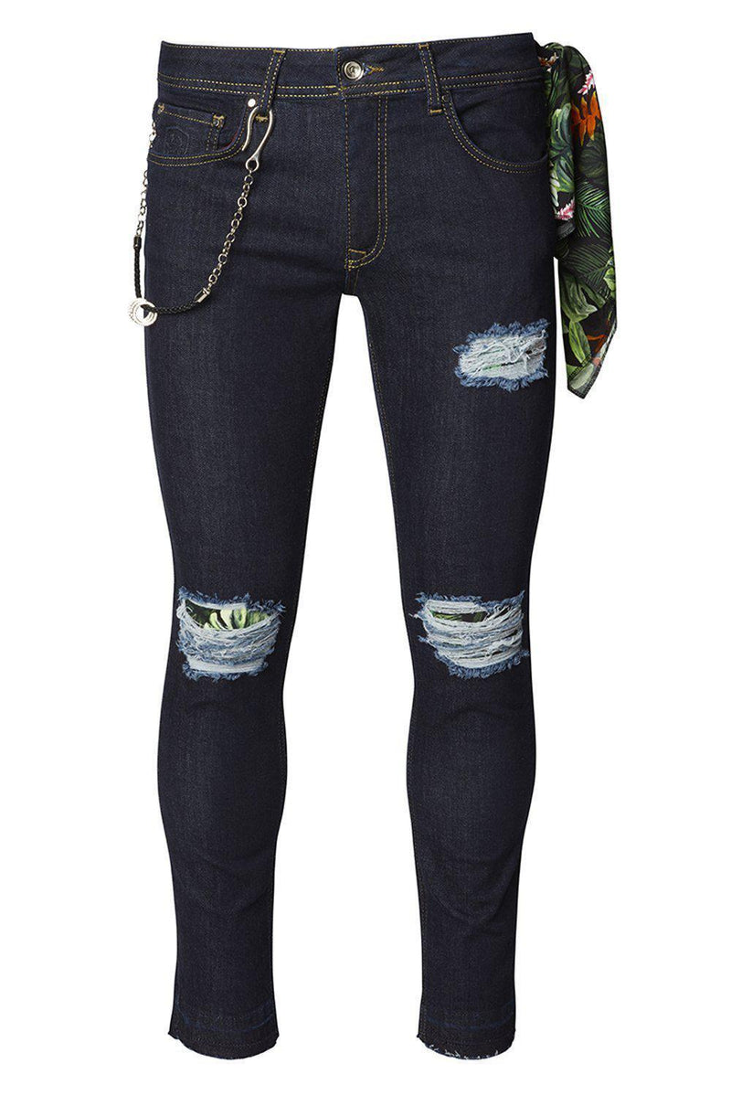 Chain slit Distressed Jeans - Navy