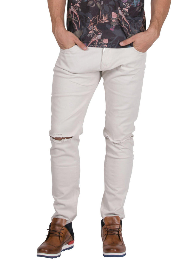 Chain Slit Slim Fit Chino - ECRU - Ron Tomson