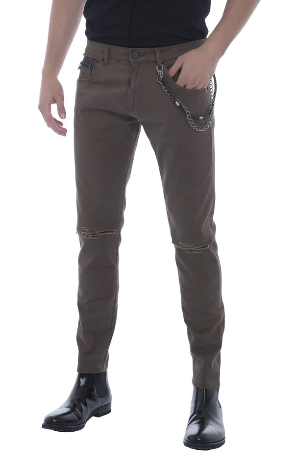 Chain Fitted Slit Chino-Jeans-Ron Tomson-GREEN-29-Ron Tomson
