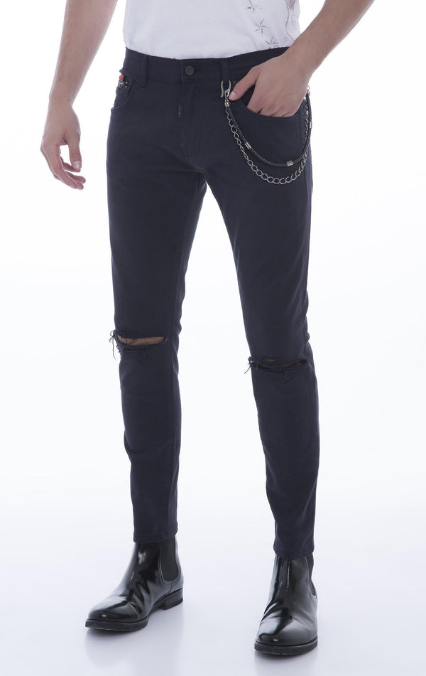 Chain Slit Slim Fit Chino - NAVY - Ron Tomson