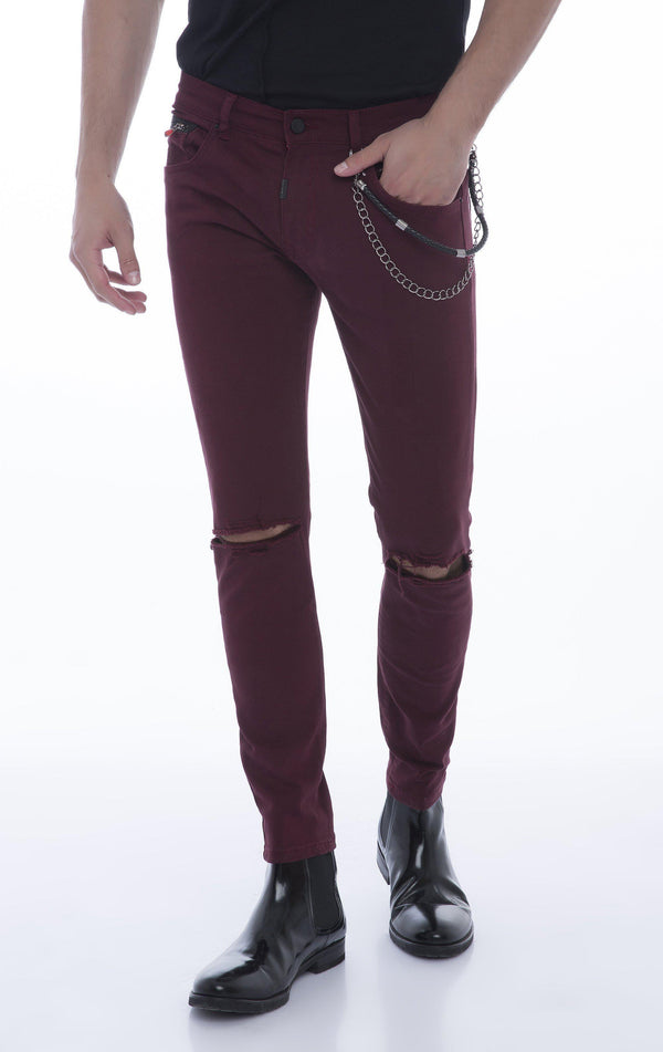 Chain Slit Slim Fit Chino - WINE - Ron Tomson