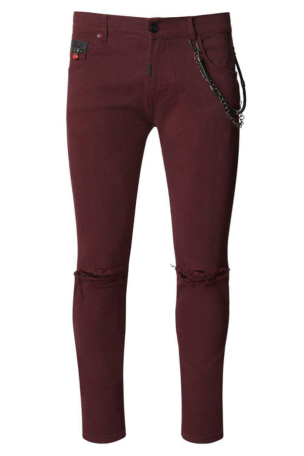 Chain Slit Slim Fit Chino - WINE