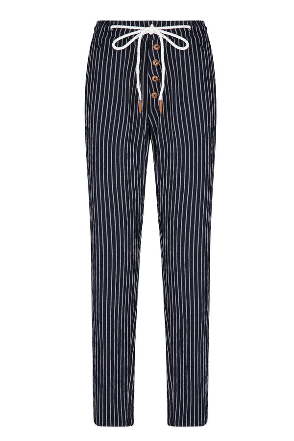 Chalk Stripe Pants - Navy White - Ron Tomson