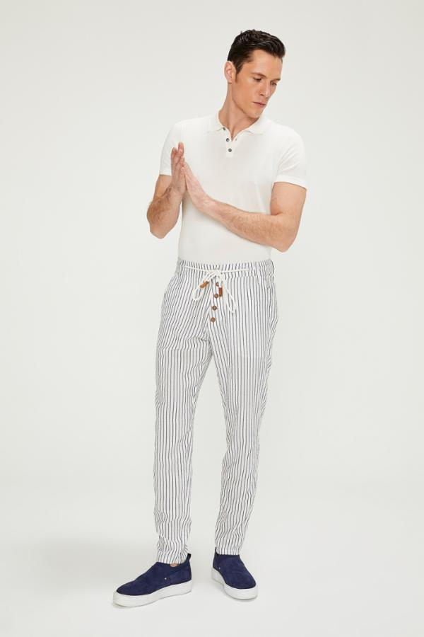 Chalk Stripe Pants - White Navy