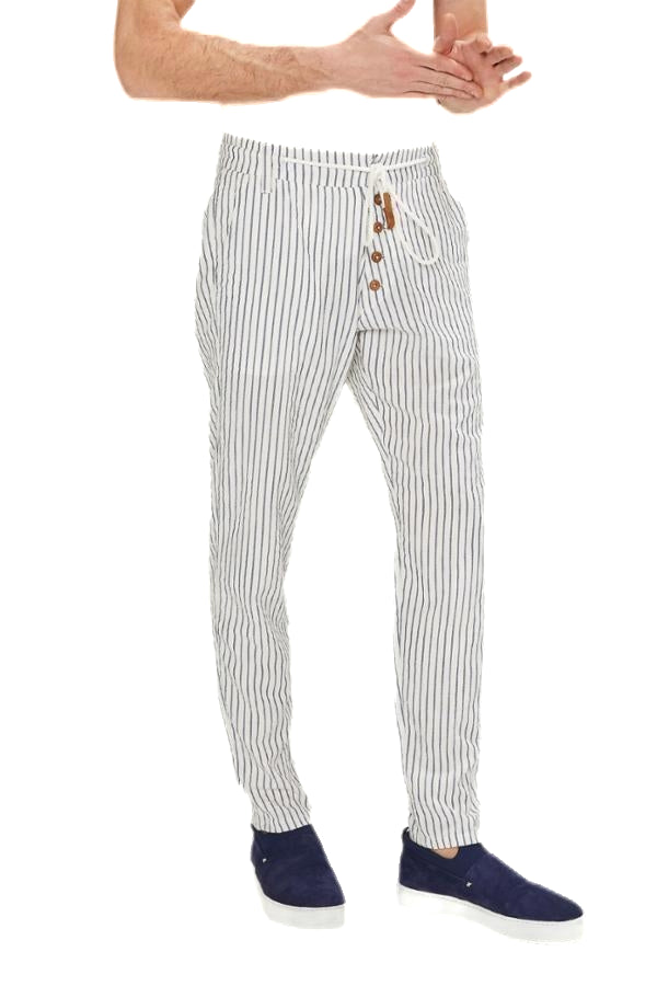 Chalk Stripe Pants - White Navy - Ron Tomson