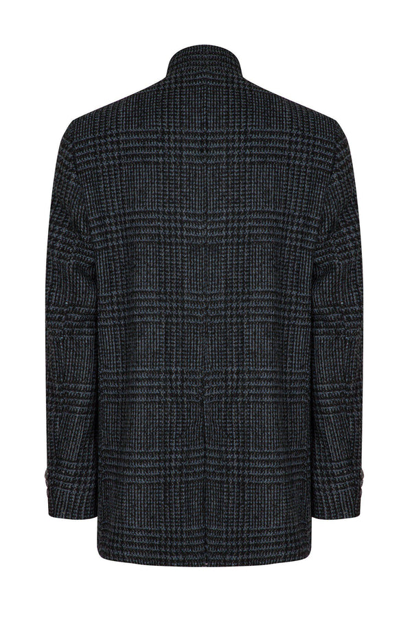 Checked Wool Coat - Black Blue - Ron Tomson