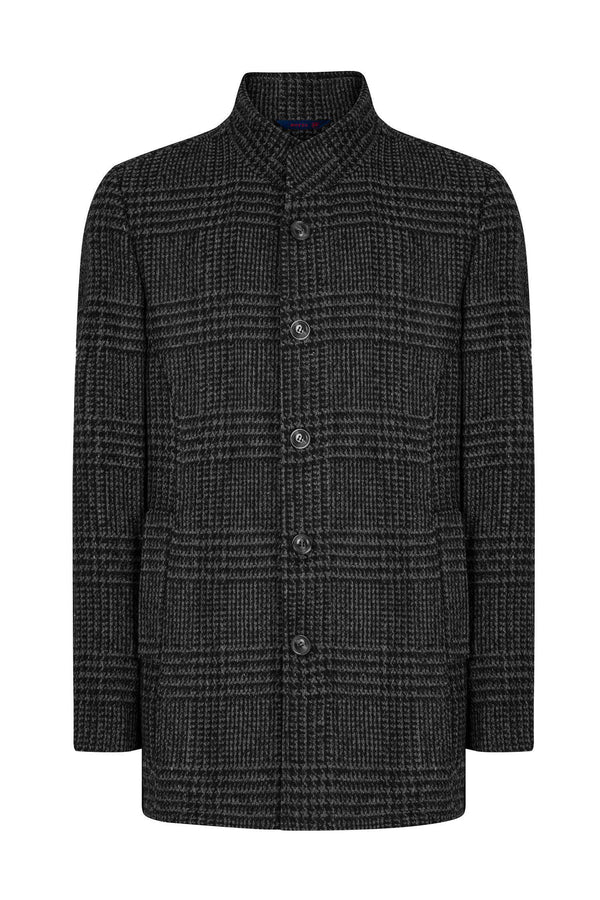 Checked Wool Coat - Black