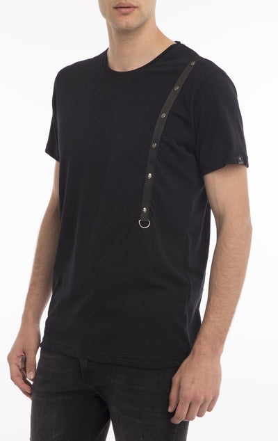 CHEST CORD FITTED T-SHIRT - BLACK