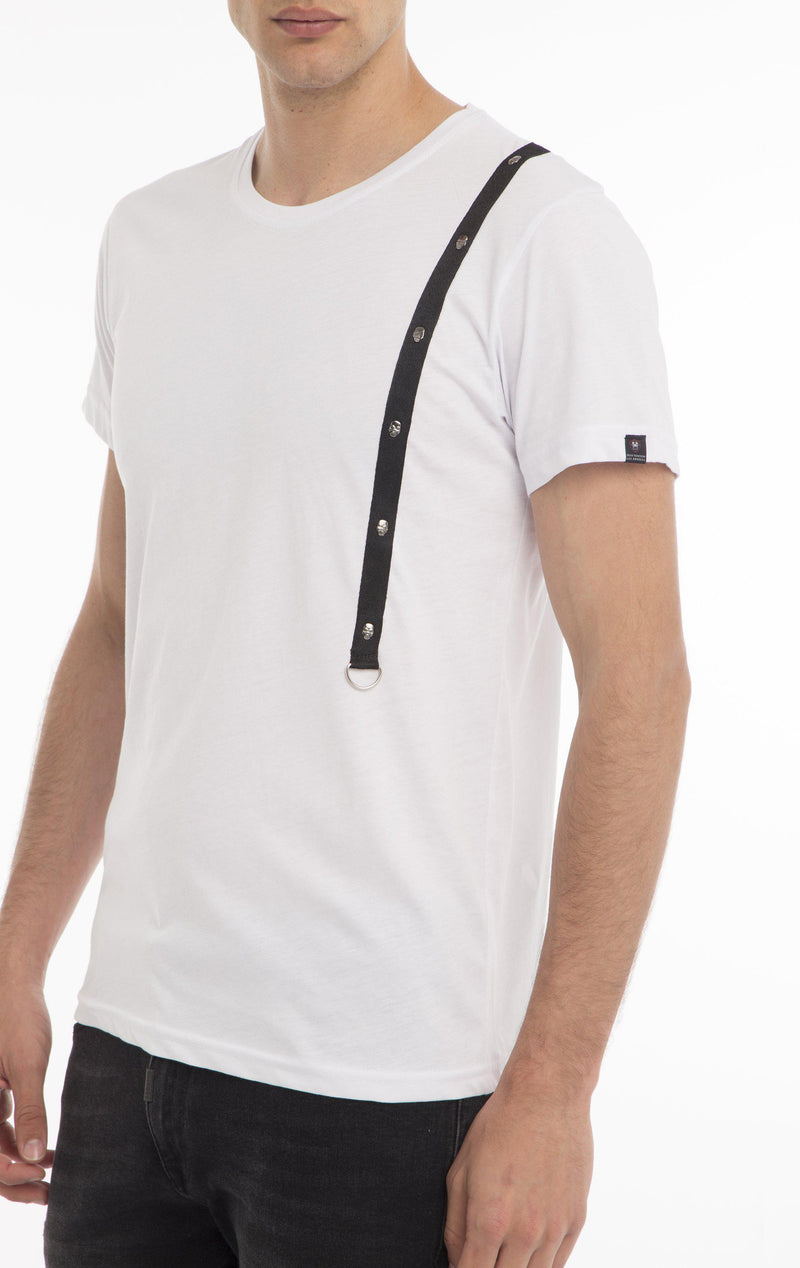 CHEST CORD FITTED T-SHIRT - WHITE