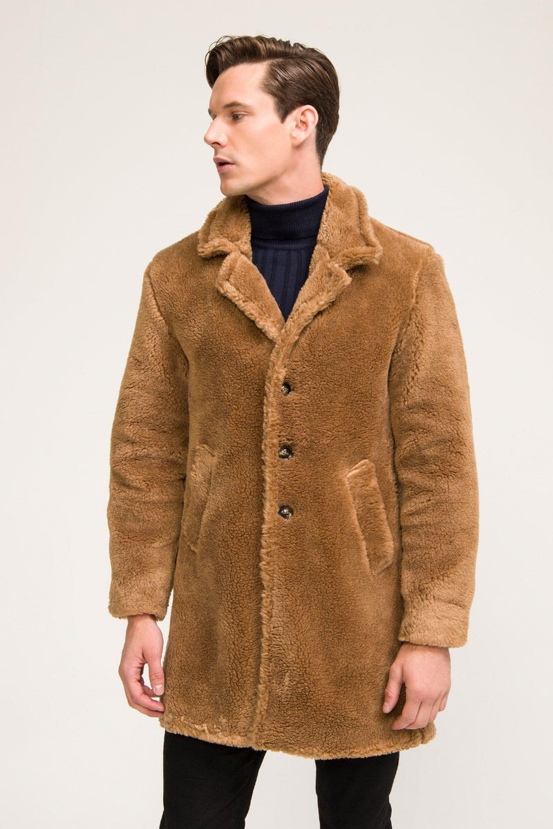 Classic Long Teddy Coat - Camel - Ron Tomson
