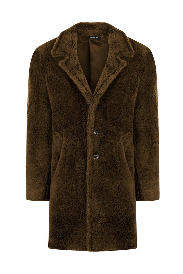 Classic Long Teddy Coat - Khaki