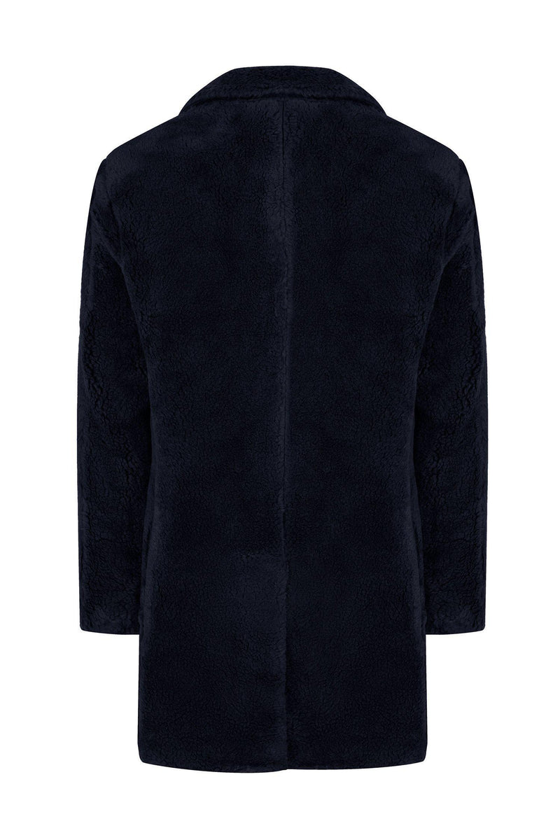 Classic Long Teddy Coat - Navy - Ron Tomson