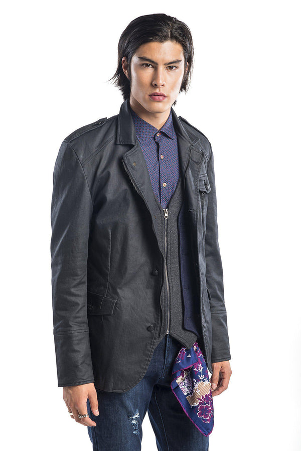 Coated Multi-Pocket Safari Jacket-Jackets-Ron Tomson-BLACK-M/38-Ron Tomson